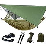 Dyna-Living Hängematte Outdoor, Ultraleichte Moskito Netz Camping Hangematten Outdoor mit Sonnenschutz, Hängematte 2 Personen 200kg Tragfähigkeit (260 x 140 cm) - Armeegrün