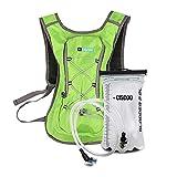 + CISCOO Fahrradrucksack mit Trinksystem - Laufrucksack Trinkrucksack mit 2L Trinkblase - optimal für Radfahren, Joggen, Wandern und Outdoor Aktivitäten (Grün/Green)