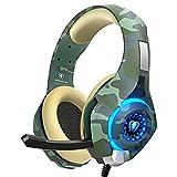 Gaming Headset für PS4 PS5 PC Xbox One, PS4 Headset mit Mikrofon Stereo Surround Sound Kopfhörer Noise Cancelling LED Lichter und Einzigartige Ohrenschützer