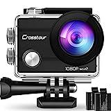 Crosstour Action Sport Cam WiFi 14MP Full HD Unterwasserkamera 2' LCD 170° Weitwinkelobjektiv Helmkamera mit 2 Akkus 1050mAh und Zubehör Kits