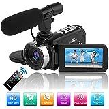 Videokamera Camcorder Full HD 1080P 30FPS 24.0MP Digitalkamera Nachtsichtkamera für YouTube Camcorders Videokamera mit Fernbedienung und Externes Mikrofon