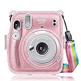 CaseBot Tasche für Fujifilm Instax Mini 11 Sofortbildkamera - Premium Kunstleder Schutzhülle Reise Kameratasche Hülle Abdeckung mit abnehmbaren Riemen, Schimmernd Pink (PVC)