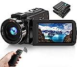 Videokamera Camcorder 1080P FHD 30FPS 36MP IR Nachtsicht YouTube Vlogging Kamera Recorder 3.0 '' 270 Grad Drehung IPS Bildschirm 16X Digital Zoom Camcorder mit Fernbedienung und 2 Batterien