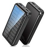 Powerbank Solar 30000mAh, Solar Ladegerät Outdoor mit 2 Ausgängen, [USB-C-Eingänge] Solar Power Bank mit LED-Batterieanzeige Schnellladung Externer Akku für Tablet Smartphone, Alle USB Geräte
