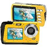 Lincom Unterwasserkamera Unterwasser Kamera 2.7K Full HD 48.0 MP Kamera mit Zwei Bildschirmen für Selfie wasserdichte Kamera zum Schwimmen und Schnorcheln