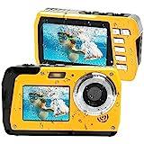 Lincom Unterwasserkamera Unterwasser Kamera 2.7K Full HD 48.0 MP Kamera mit Zwei Bildschirmen für Selfie wasserdichte Kamera