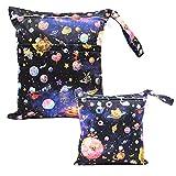 iZiv 2er Pack Baby-Wasserdichtes Reusable Wet Dry Bag, Wickeltasche, wiederverwendbare Wasserdicht Waschbar Hanging Große Organizer-Beutel-Doppelt-Reißverschluss Druck Windel-Tasche