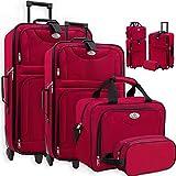 KESSER 4tlg Trolley Kofferset | Reisekoffer Set mit Rollen | Komplettes Business 4er Set | S M L XL | Netzfach | Rollen | Teleskopgriff | Koffer Reisetaschen Stoffkoffer | Handgepäck | Rot