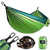 NatureFun Ultraleichte Reise Camping Hängematte | 300kg Tragkraft (275 x 140 cm) Atmungsaktiv,Schnelltrocknendes Fallschirm Nylon | 2 x Premium Karabiner,2 x Schlingen| Drinnen Draußen Garten