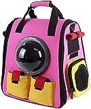 Pet Carrier, Raumkapsel Blasen-Entwurf, wasserdichter Gepolsterter Handtasche Rucksack for Katzen und kleine Hunde Haustier Katze Out Mini Breathable Haustier-Hunderucksack Jialele ( Color : Pink )