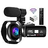 Camcorder 4K Videokamera 48MP 18X Videokamera WiFi Vlogging Kamera IR Nachtsicht Full HD Camcorder mit Drahtloser 360 ° Fernbedienung