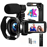Videokamera Camcorder 4K Ultra HD 48MP IR Nachtsicht Vlogging Kamera 18X Digitalzoom Camcorder mit Mikrofon, WiFi, Handstabilisator, Gegenlichtblende und 3,0 Zoll 270 ° Flip Touchscreen