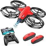Potensic Mini Drohne für Kinder mit Kamera, FPV WiFi Live Übertragung, verbesserter Propellerschutz, 3D-Flip, Kampfmodus, Schwerkraftsensor, Höhenhalten, kopfloser Modus, Spielzeuggeschenk, Rot