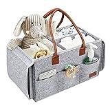 PaperKiddo Baby Windel Caddy Organizer mit Wickeltisch, 2 in 1 tragbaren Filz Kinderzimmer Vorratsbehälter und Auto Organizer für Windeln, Baby Wipes und Spielzeug