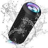 Ortizan Bluetooth Lautsprecher mit Buntem LED-Licht, Tragbarer Mini Bluetooth Box mit Freisprechfunktion, IPX7 Wasserschutz und 360° Surround Sound, Kabelloser Lautsprecher Musikbox mit TWS, AUX, TF