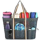 GAGAKU Extra Große Reisetasche Strandtasche Faltbare Handtaschen Netztasche für den Sommer Strand Shopping-Grau