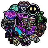 Cosswe Aufkleber Pack 50 Stück,Neon Graffiti Decals,Weinlese Wasserdicht Vinyl Stickers Skateboard Reise Kinder Aufkleber Sticker Bomb für Laptop Koffer Helm Motorrad Skateboard Auto Fahrrad
